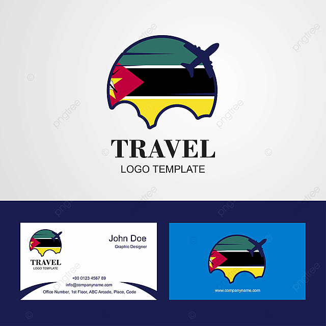 Travel Mozambique Flag Logo And Visiting Card Design