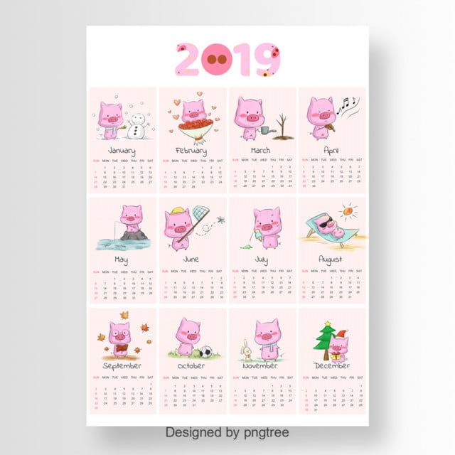 cartoon 2019 calendar with cute pig template for free download on