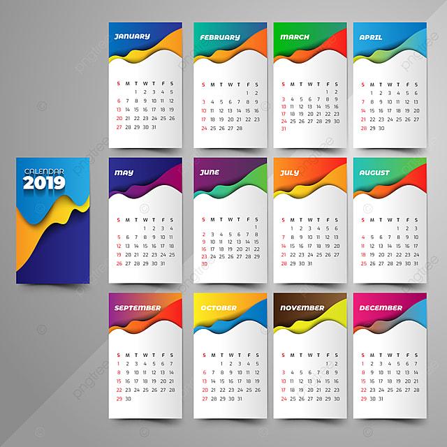 les gradients calendrier 2019 mode style origami mod u00e8le de