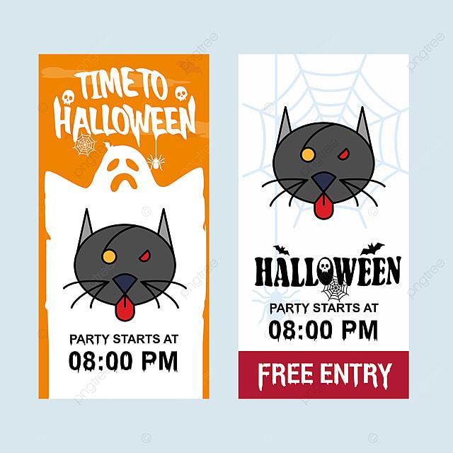 Szczęśliwego Halloween Zaproszenia Projektu Z Cat Wektor Szablon Do