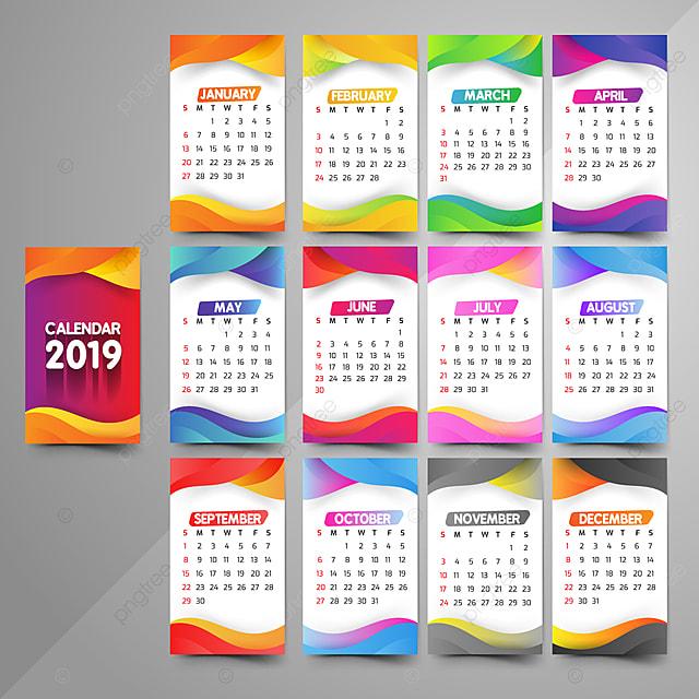 year 2019 calendar beautiful design template for free