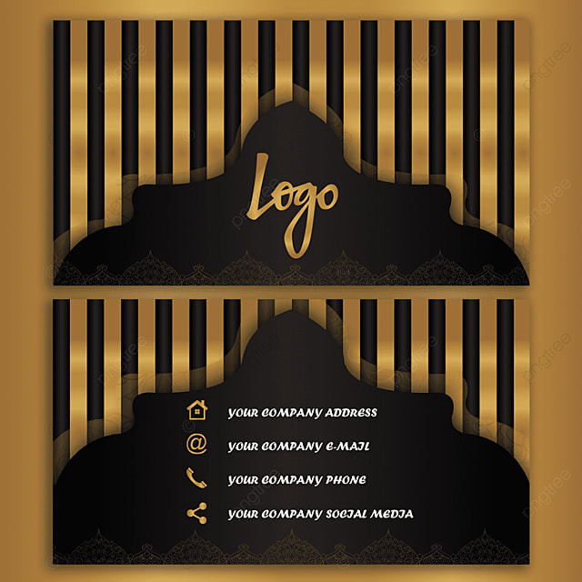 Luxury Business Card Template Black And Golden Vector Template For