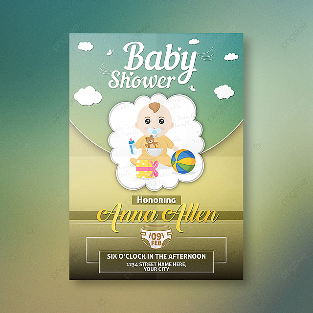 baby shower invitation card design template for free