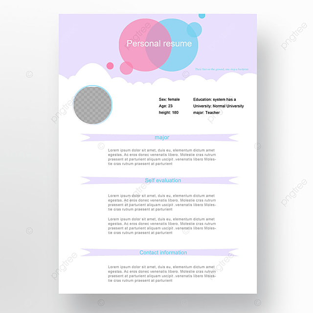 cute personal resume template for free download on pngtree