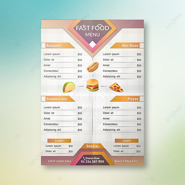 Fastfood Menu Card Design Template For Free Download On Pngtree