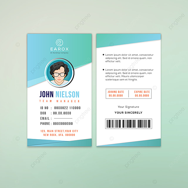 john nielson company employee id card template for free download on