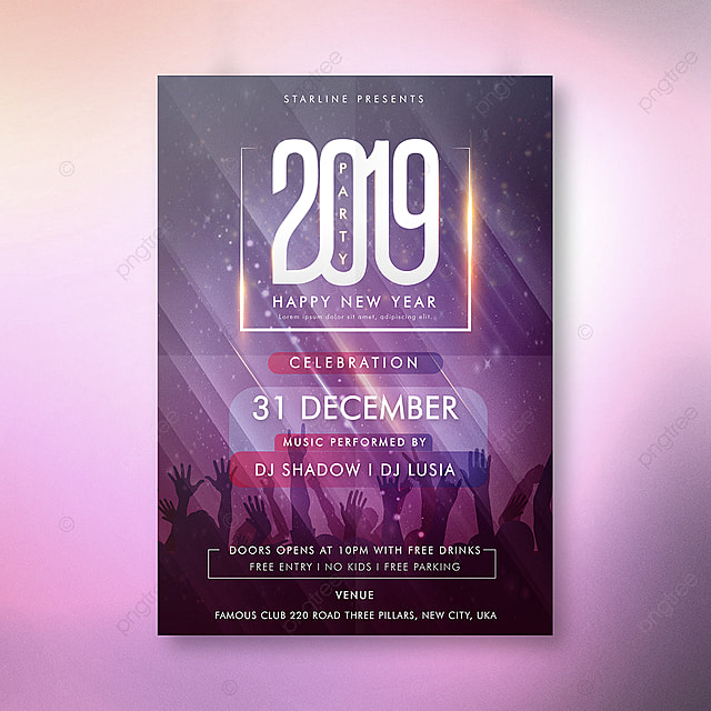 party night 2019 new year poster template for free