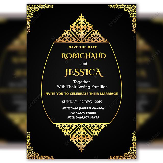 Black Vintage Wedding Invitation Card Template Psd File ...