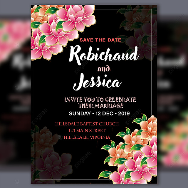 Black Wedding Invitation Card Template With Pink Flower Psd