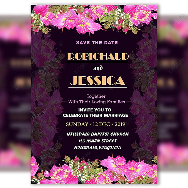 Fresh Flower Purple Wedding Invitation Card Template Psd ...