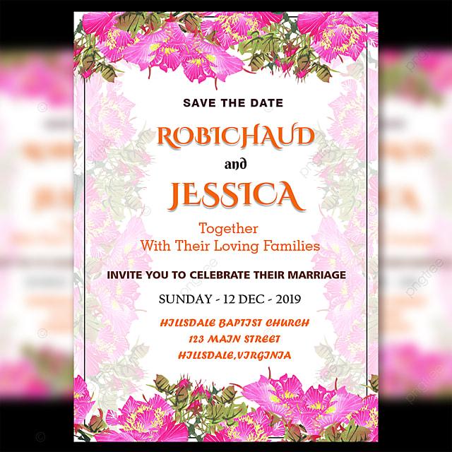 fresh pink flower wedding invitation card template psd
