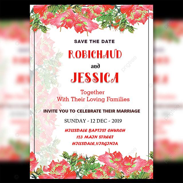 fresh red flower wedding invitation card template template