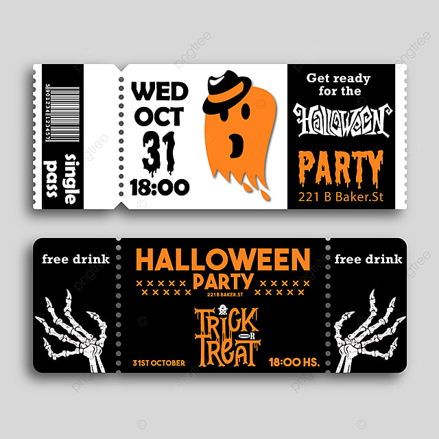 Halloween Bilet Szablon Do Pobrania Za Darmo Na Pngtree
