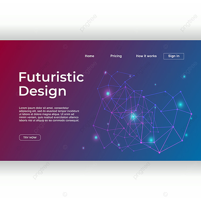 Landing Page Template With Futuristic Design Theme