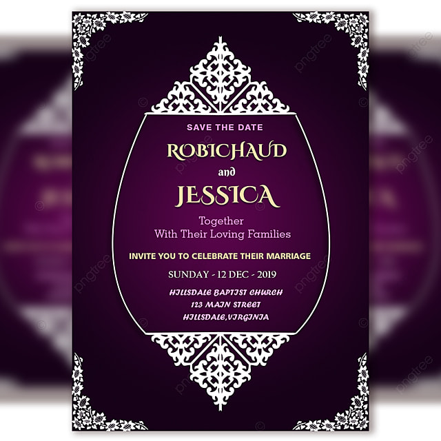 Purple Vintage Wedding Invitation Card Template Psd File With Vector