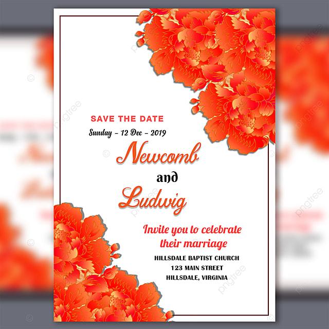 Fichier Psd De Modele De Carte D Invitation De Mariage Avec Fleur De Vecteur Modele De Telechargement Gratuit Sur Pngtree