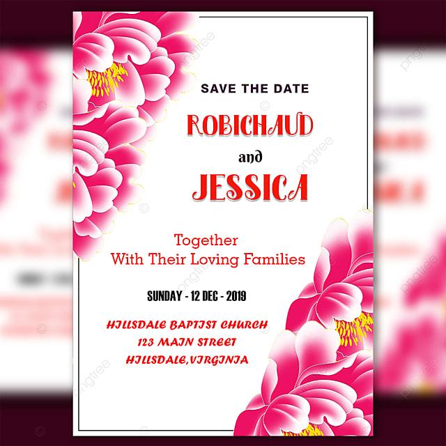 Modele De Carte D Invitation De Mariage Avec Belle Couleur Rose Fleur Modele De Telechargement Gratuit Sur Pngtree