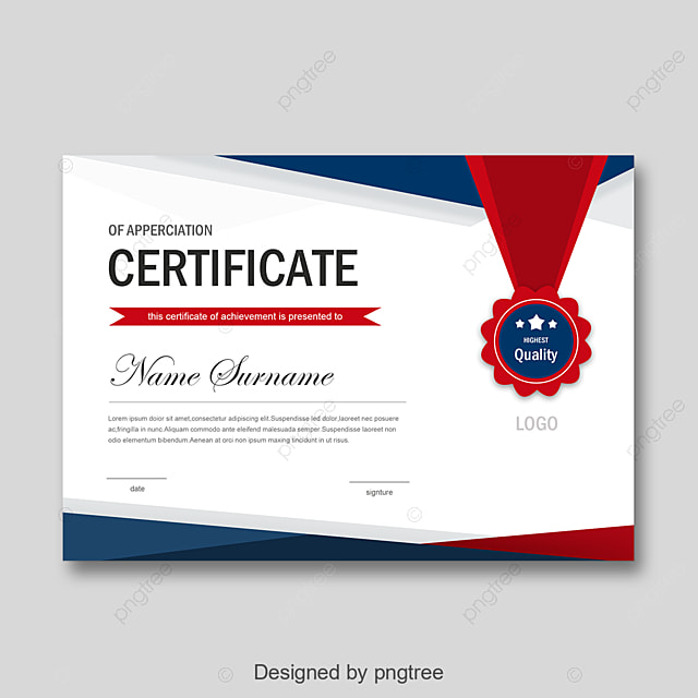Red And Blue Fashion Simple Personal Honor Certificate Template For