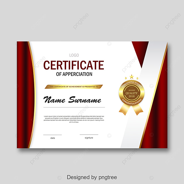 Red And White Fashion Simple Personal Honor Certificate Template For