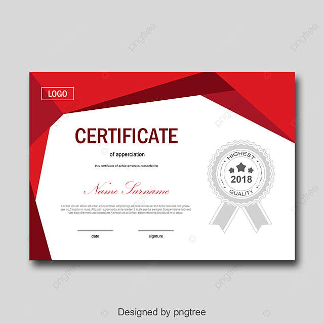 red and white personal certificate of honor template for free
