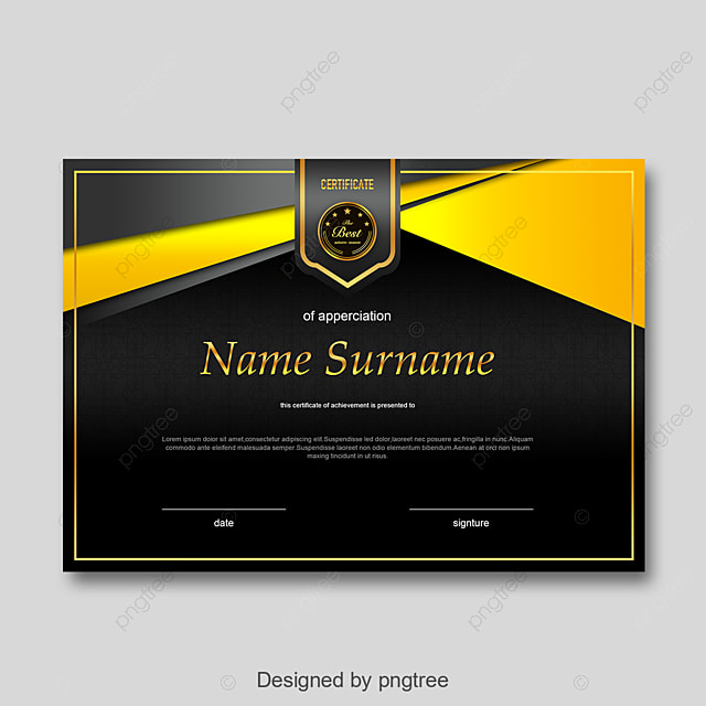 Black Yellow Ribbon Personal Honor Certificate Template For Free Download On Pngtree