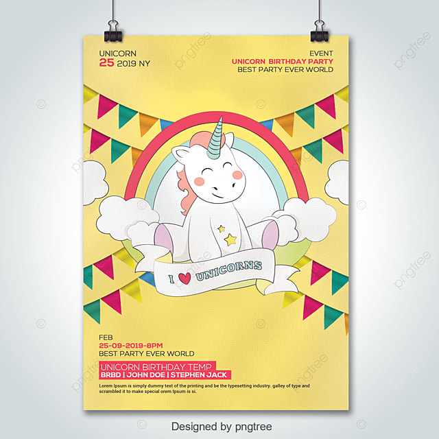 Unicorn Birthday Party Invitation Template Template For Free