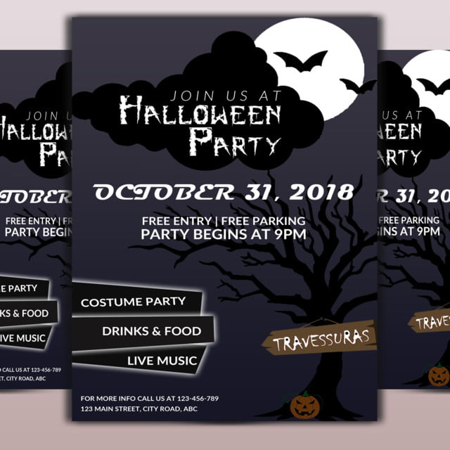 halloween party flyer template for free download on pngtree