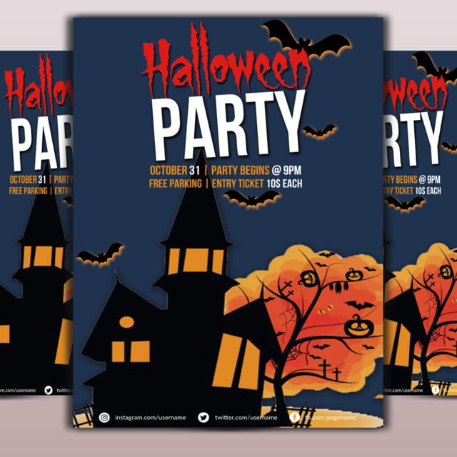 halloween party flyer template template for free download on pngtree