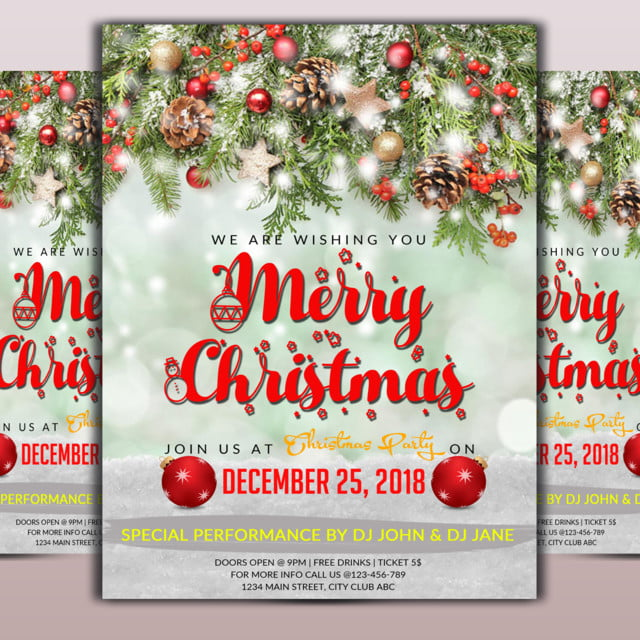 Merry Christmas Flyer Template for Free Download on Pngtree