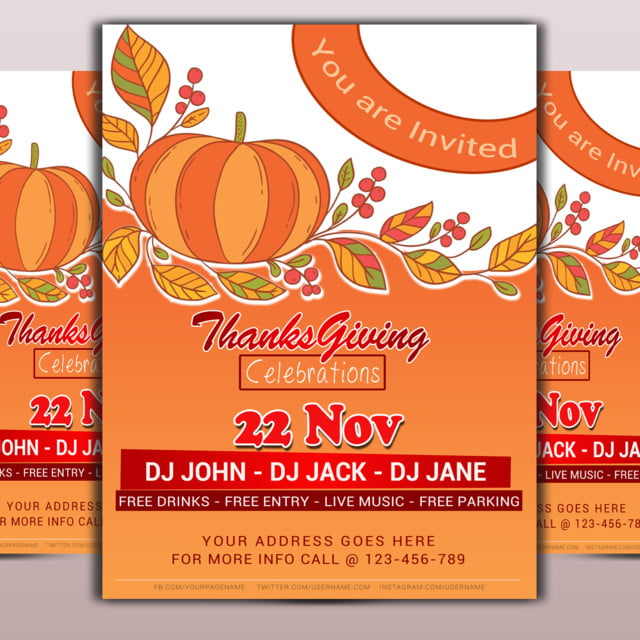 thanksgiving dinner flyer template for free download on pngtree