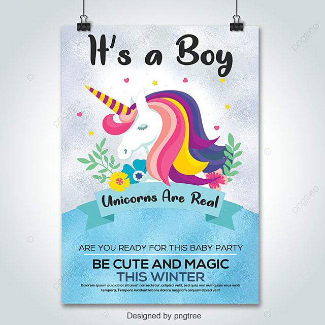 Baby Shower Greeting Card With Unicorn Boy Template For Free