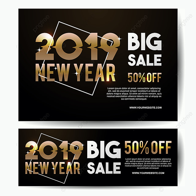 luxury new year 2019 big sale banner template gold colors vector eps 10 template