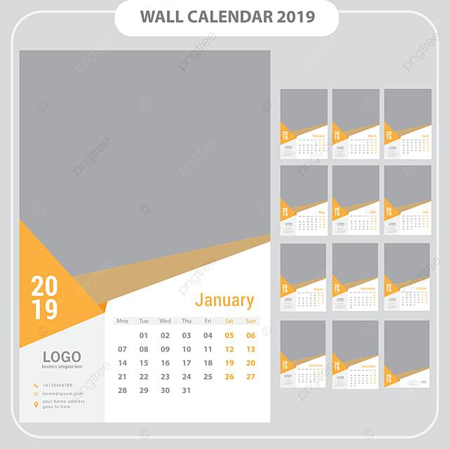 Modelli Calendario 2019.Calendario 2019 Modello Vector Modello Per Il Download