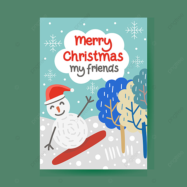 christmas poster template with snowman for greeting celebration