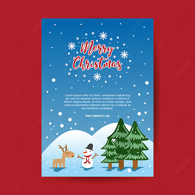 christmas poster template with winter scenery template for free
