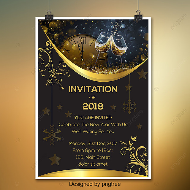 black and gold new year invitation template
