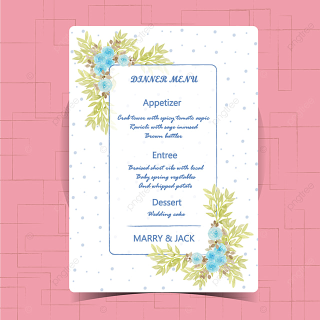 Floral Wedding Menu Card With Beautiful Flower Template