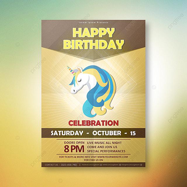 Unicornio Gratis Tarjeta De Invitación De Cumpleaños
