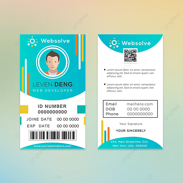 Web Developer Id Card Design Template For Free Download On