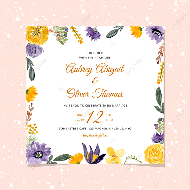 Wedding Invitation With Yellow Violet Watercolor Floral Frame