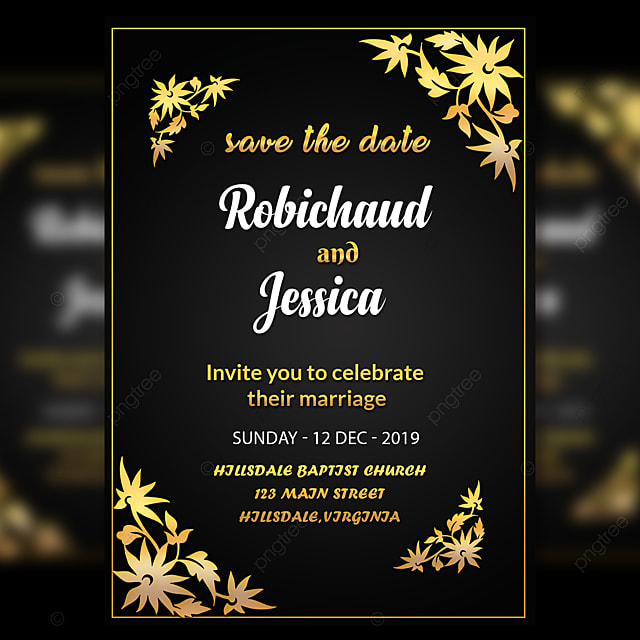 Wedding Templates | Black Wedding Invitation Card Template With Amzaing Gold Flower