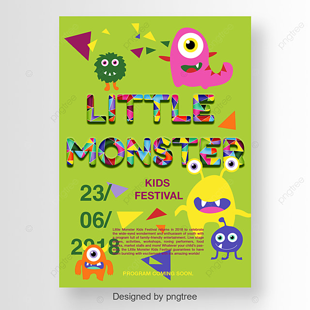 coloful kids festival poster with cute monster template for free