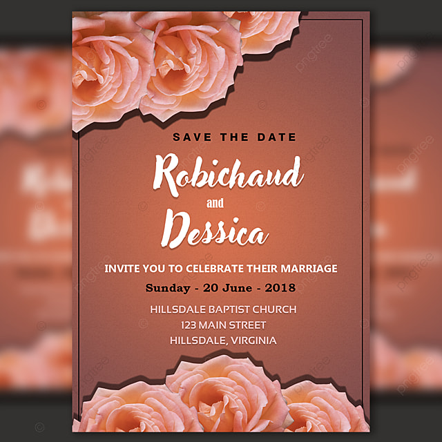 Romantic Wedding Invitation Card Template Psd For Free