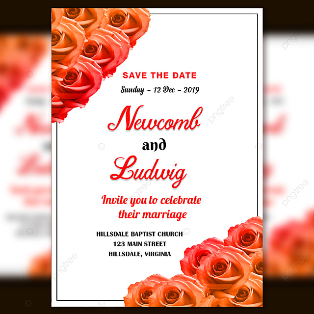 romantic wedding invitation card template psd with fresh orange and