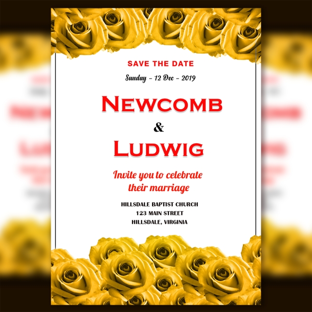 wedding invitation card template psd with fresh yellow
