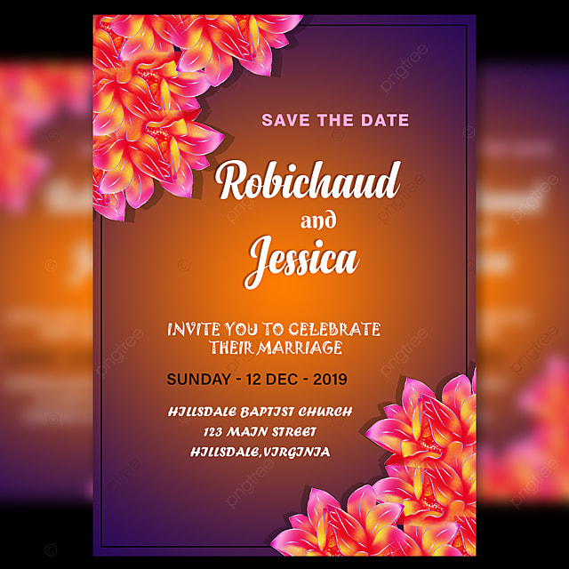 Wedding Invitation Card Template With Pink Flower And