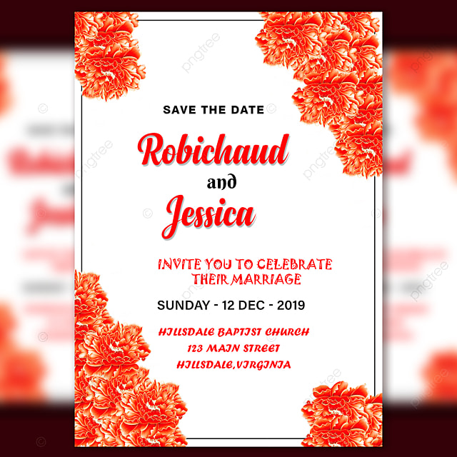 Wedding Invitation Card Template With Red And Orange Shinning Flower
