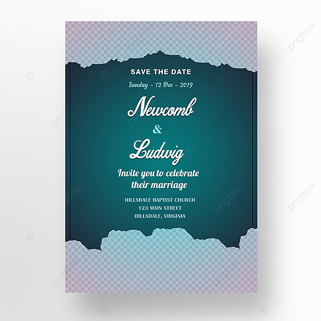 Wedding Invitation Card Template With White Flowers And Teal