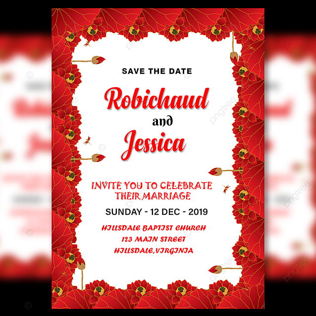 Wedding Invitation Card With Amzaing Red Flower Border Template For