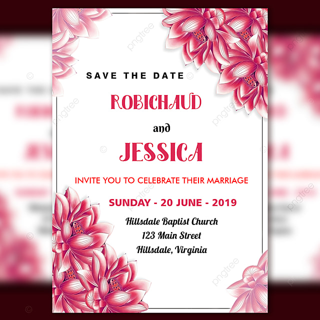 Wedding Invitation Card With Pink Flower Border Template For